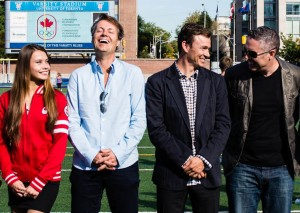 Jim Cuddy, Simon Whitfield and Ed Robertson share a laugh with an emerging Cdn athlete at Future Olympians press conference